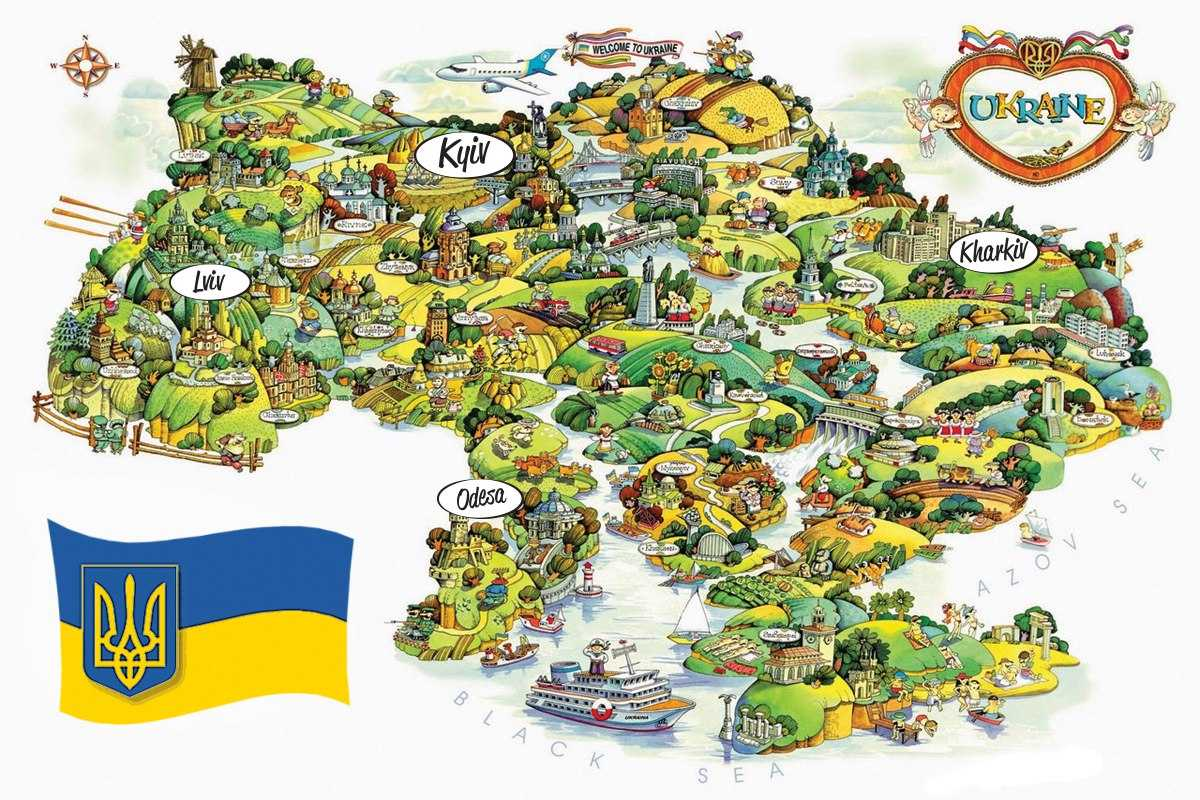 Picture map of Ukraine